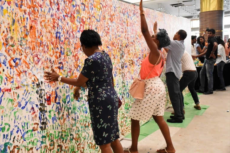 Art enthusiats contributing to create Guinness Book of World Records wit...