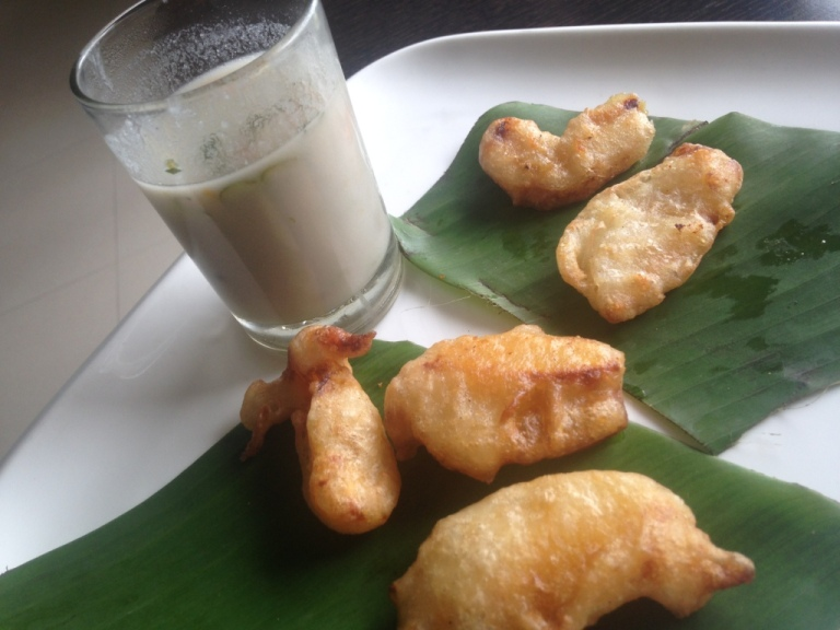 paal tarkari soup and jackfruit fritters