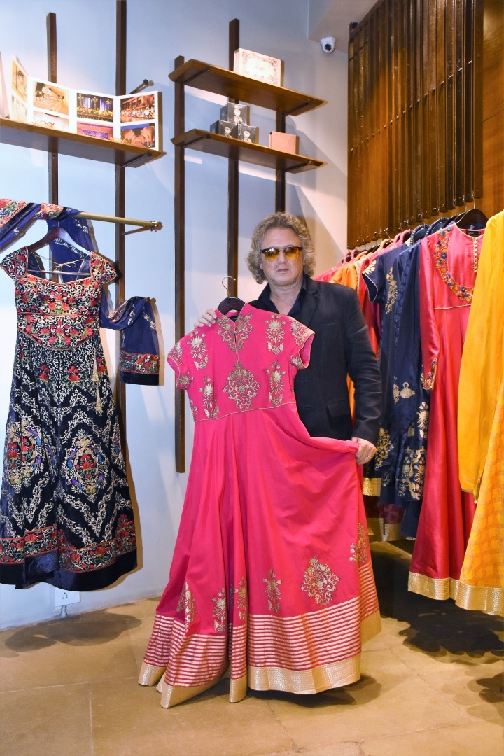 Designer Rohit Bal with one of his latest design from Balance by Rohit B...