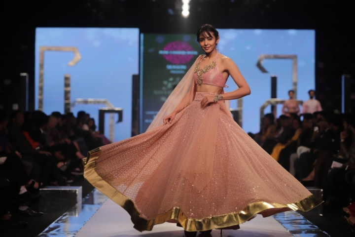 Model showcasing a designer wear by Nivedita Saboo Couture at the Grand Finale of Pune Fashion Week 2017