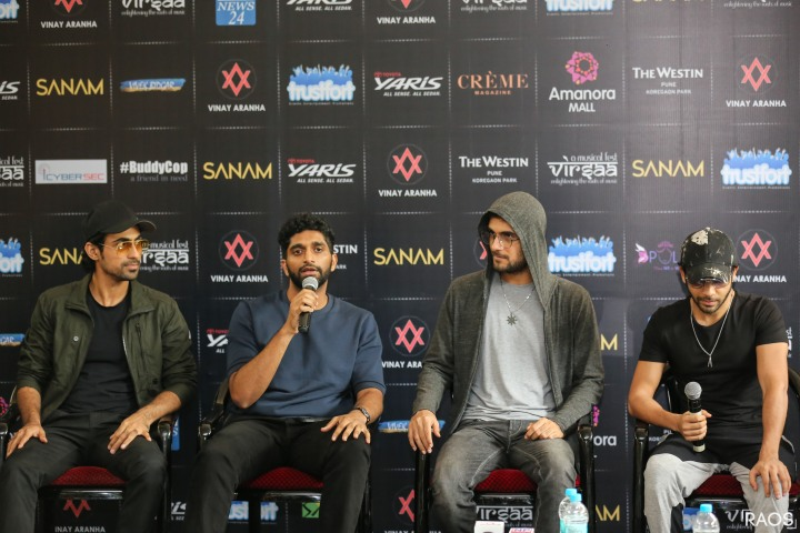 The SANAM Band Samar Puri Venkat Subramaniyam, Sanam Puri, and Keshav Dhanraj at The Aranha's Rodary School Camp for Press Conference