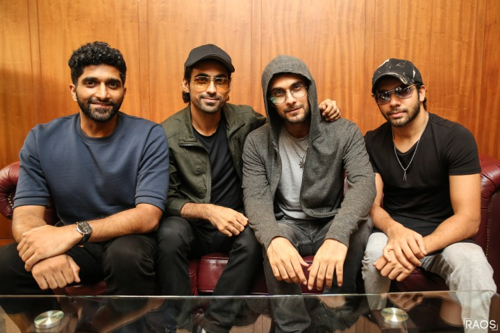 The SANAM Band Venkat Subramaniyam, Samar Puri, Sanam Puri, and Keshav Dhanraj at The Aranha's Rodary School Camp for Press Conference