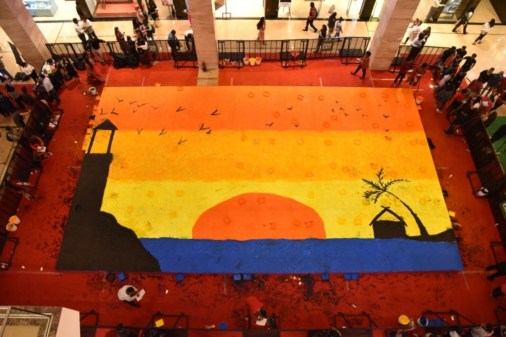 350 Women attempted a foot painting world record at The Pavillion on this International Women's Day (4)