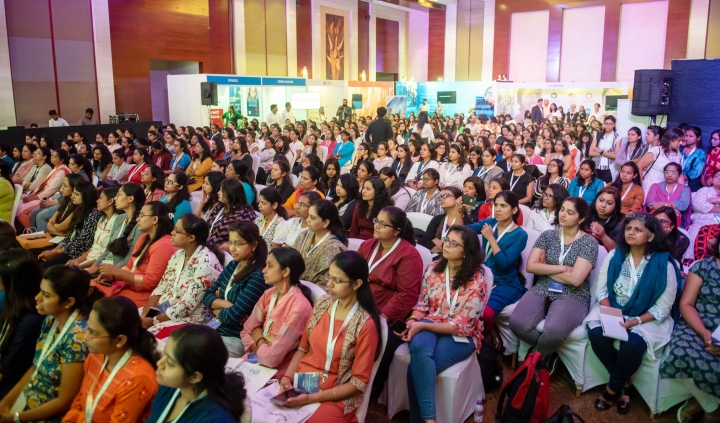 Women participent at 'WomenChangemakers Career Fair and Confluence' 2019 in Pune.
