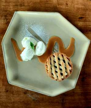 Apple pie with ice cream and salted caramel